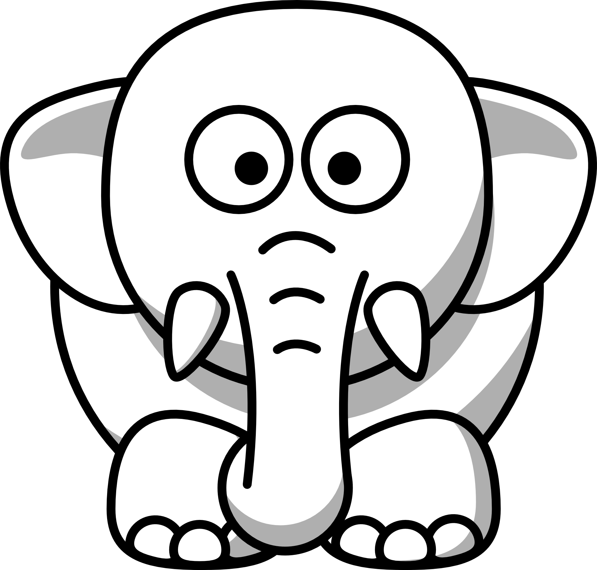 Black And White Elephant Clip Art | Courseimage