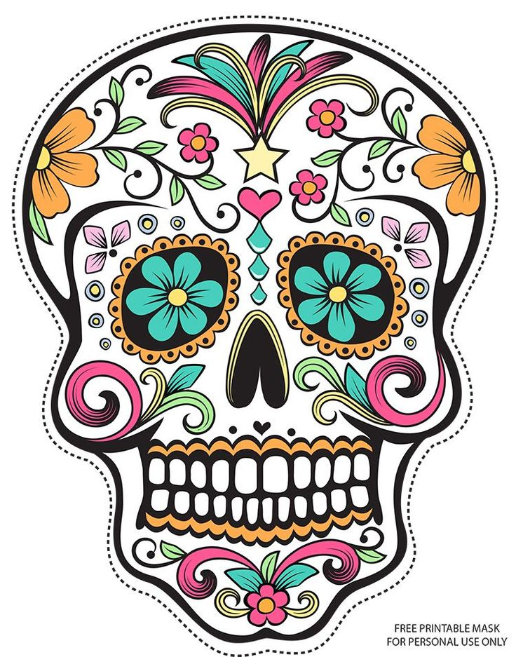 Sugar skull clip art for Day of the dead skull mask template