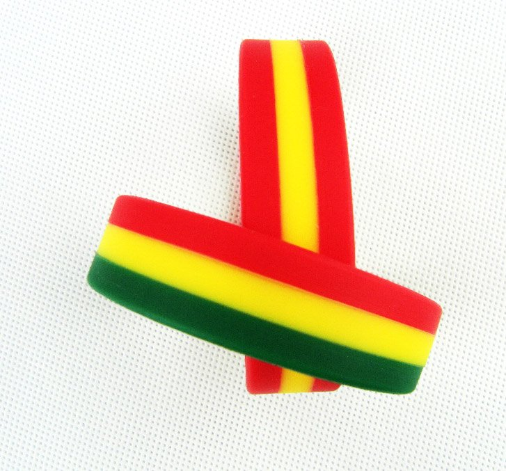Three color flag stripe silicon bands to Guinea/ RED YELLOW GREEN ...