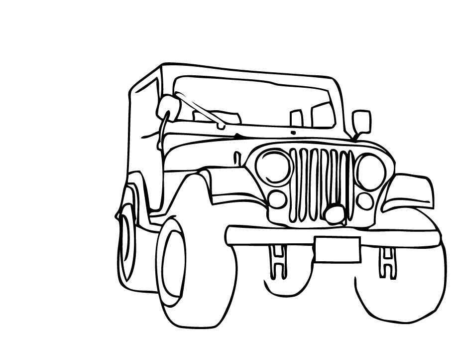 Line Drawing Jeep : Car outline clip art cliparts