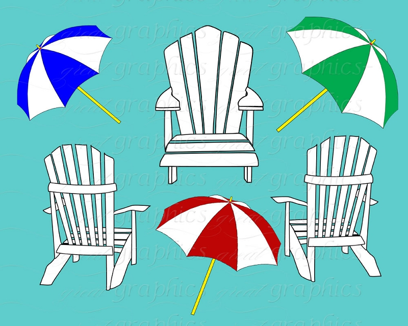Beach Chair Clip Art Beach Umbrella Clip Art Digital ClipartAdirondack Beach Chair Clip Art