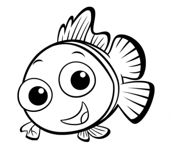 Simple fish drawing for Baby fish coloring pages
