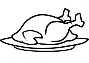 How to Draw a Thanksgiving Turkey, Cooked Turkey, Step by Step ...