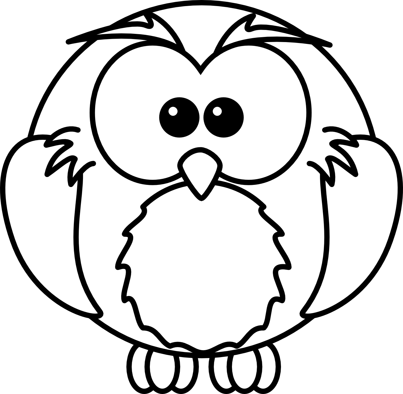 cartoon owl coloring pages - animal clipart for kids free