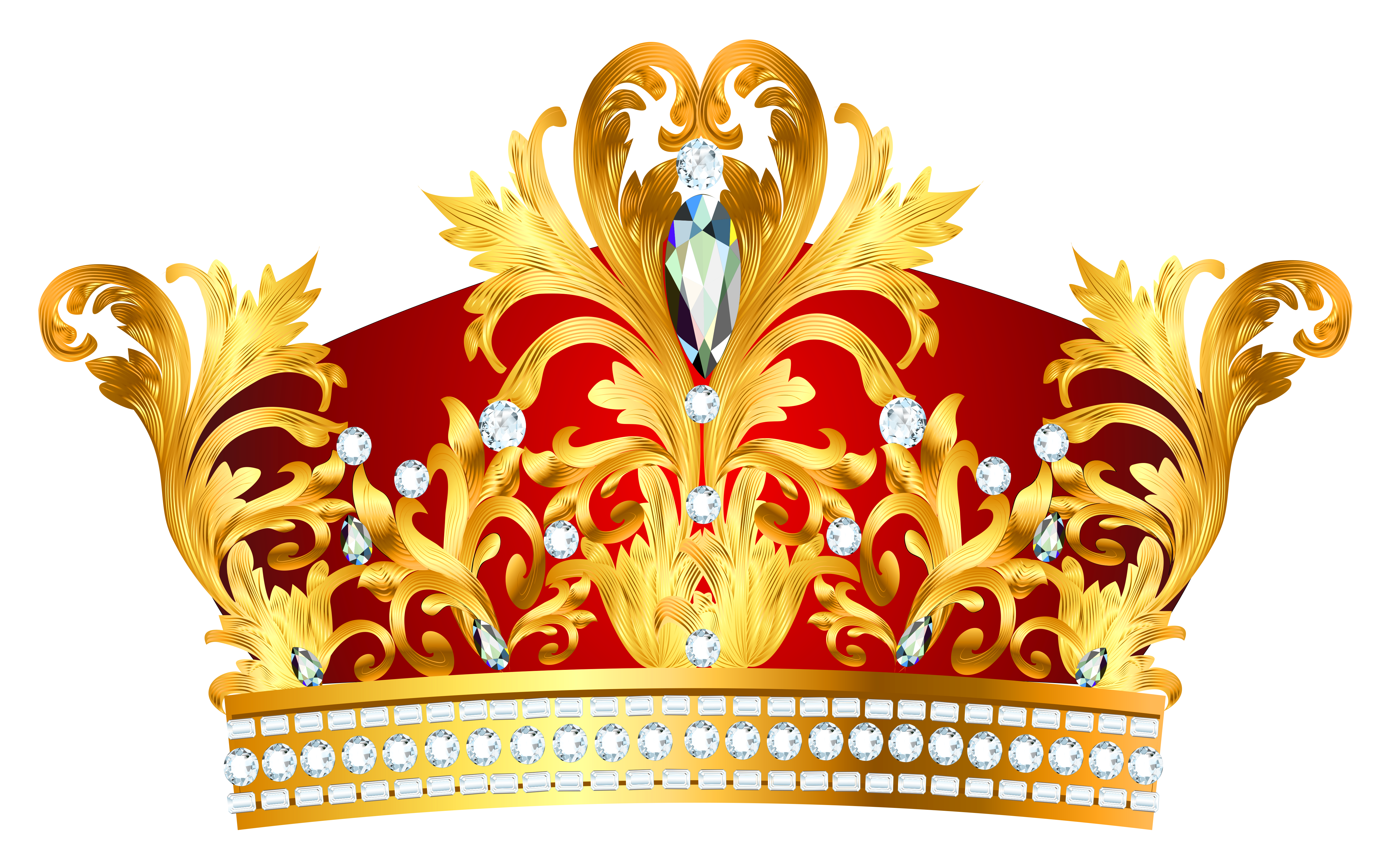 Red Golden Crown with Diaonds PNG Clipart