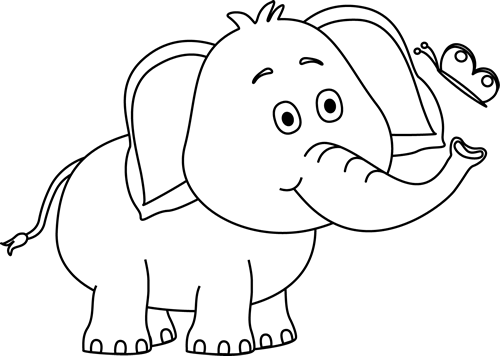 Black and White Elephant and Butterfly Clip Art - Black and White ...