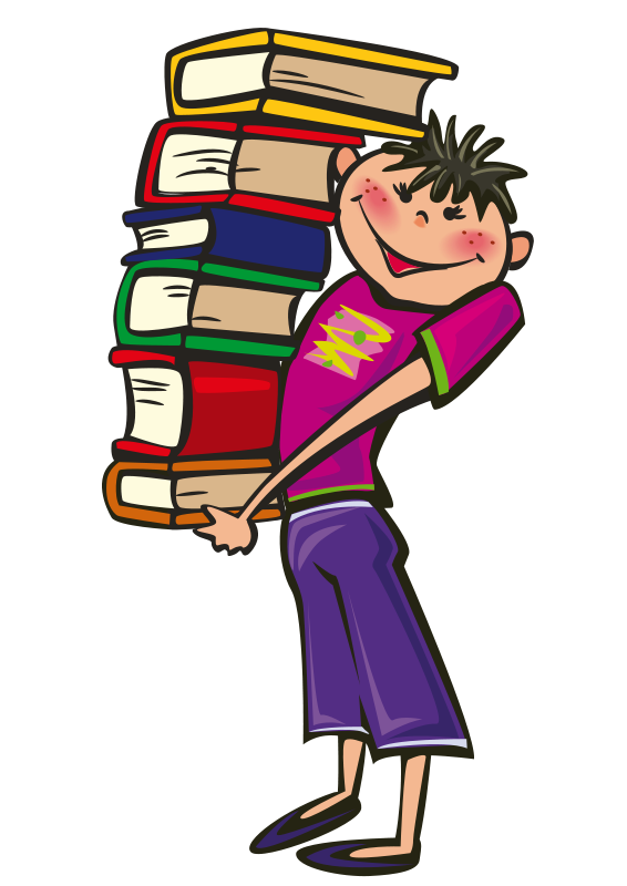 Free School Boy Carrying a Pile of Books Clip Art