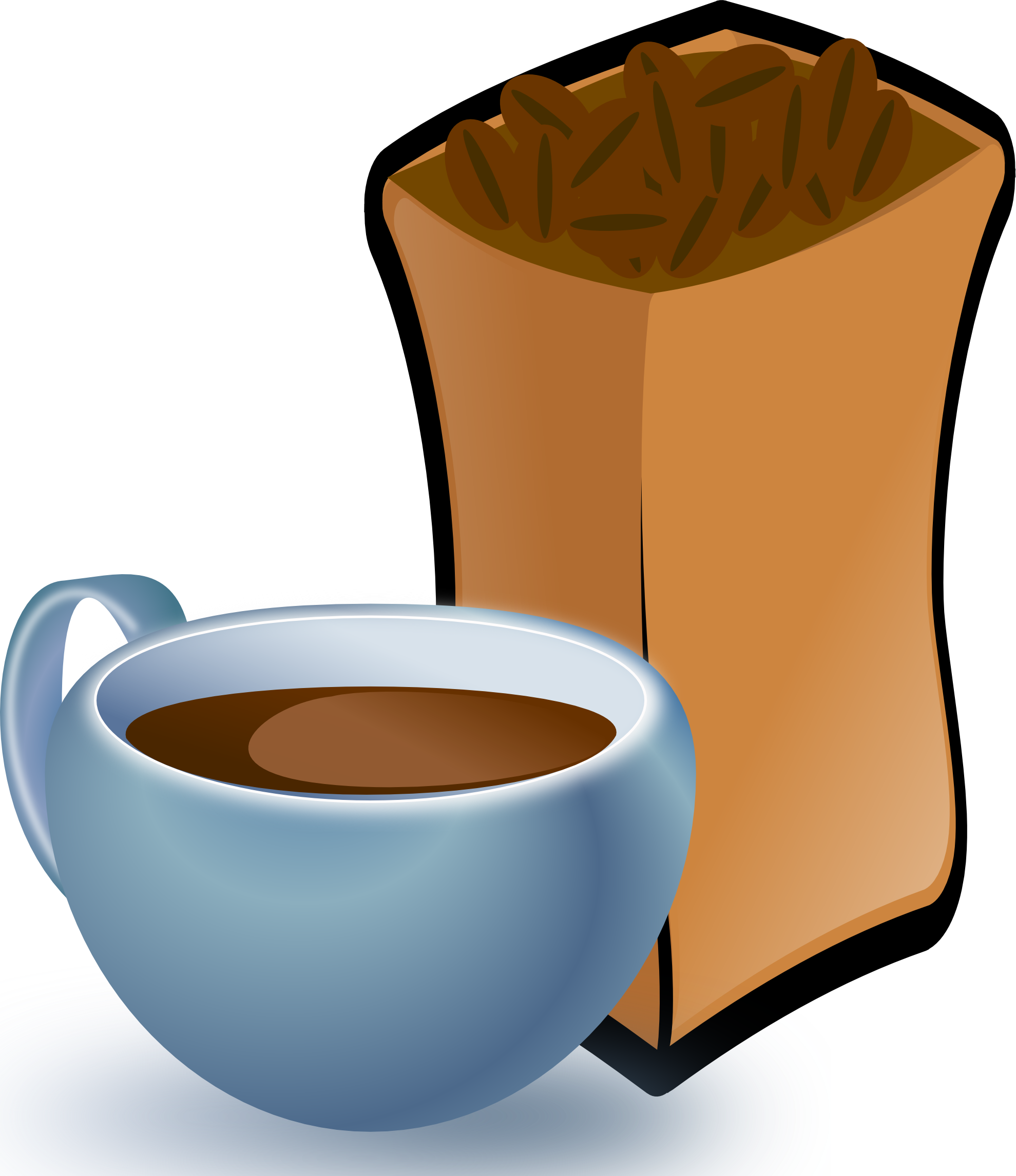 cup of coffee with sack of coffee beans food hunky dory SVG ...