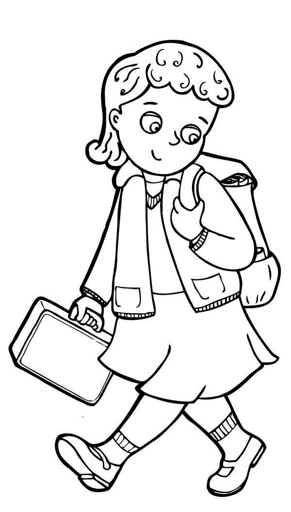 Library Coloring Pages For Kindergarten : Little girl cliparts