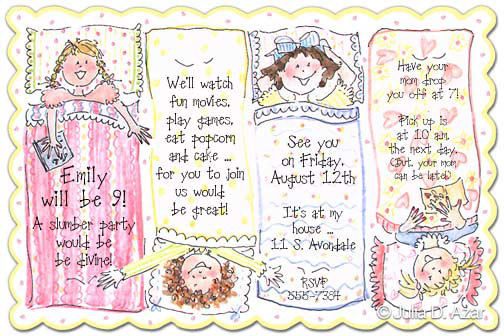 JULIA D. AZAR - SLUMBER PARTY INVITATIONS, SLUMBER PARTY, JULIA ...
