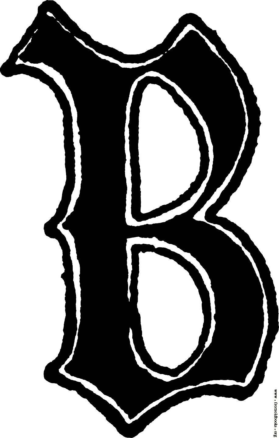 Calligraphic Letter B In 15th Century Gothic Style