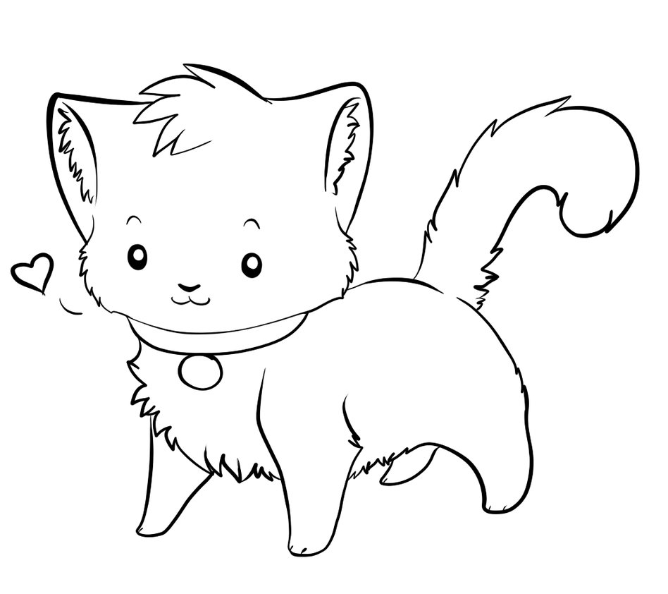 Line Art Clipart : Line drawing kitten imgkid the image kid has it