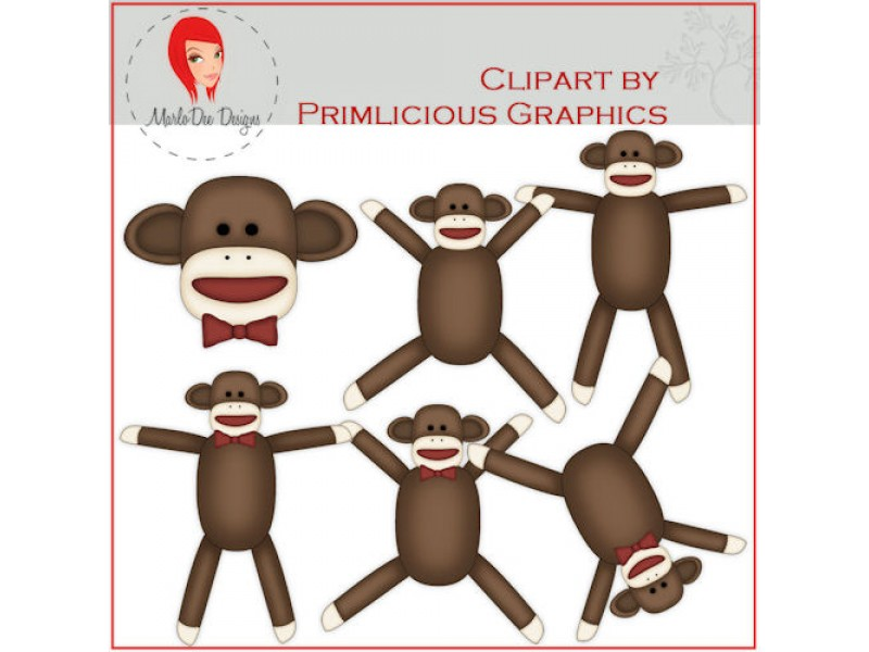 Sock Monkey Clip Art by Primlicious Graphics