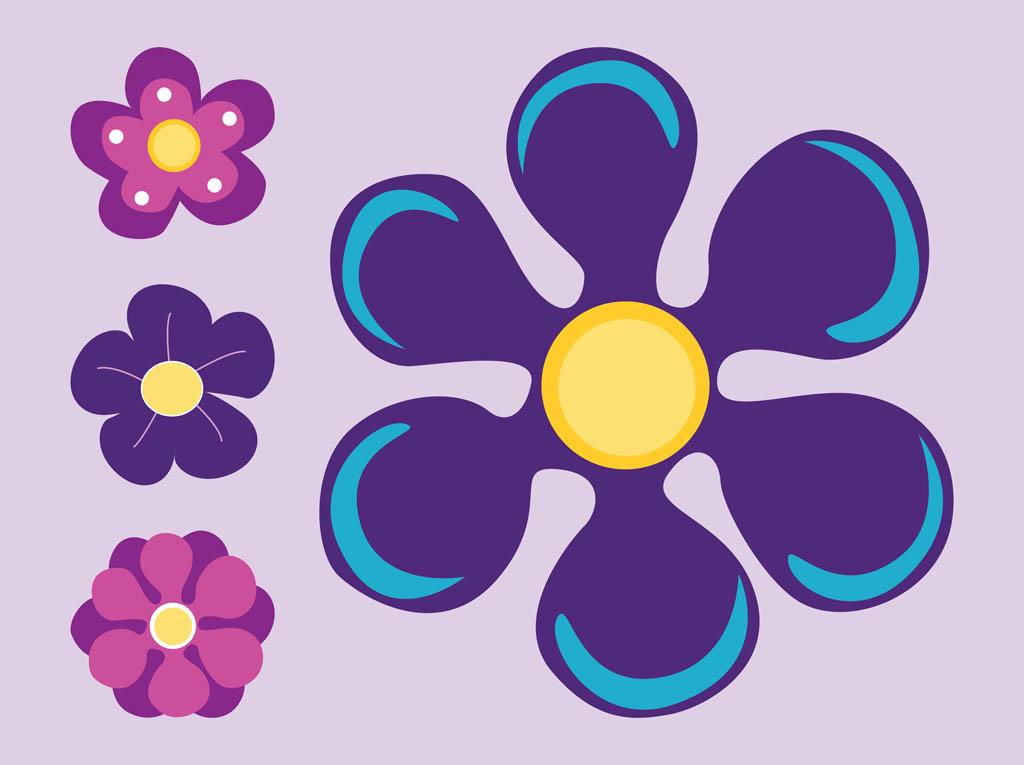 Purple Cartoon Flower Clipart Purple Flowers