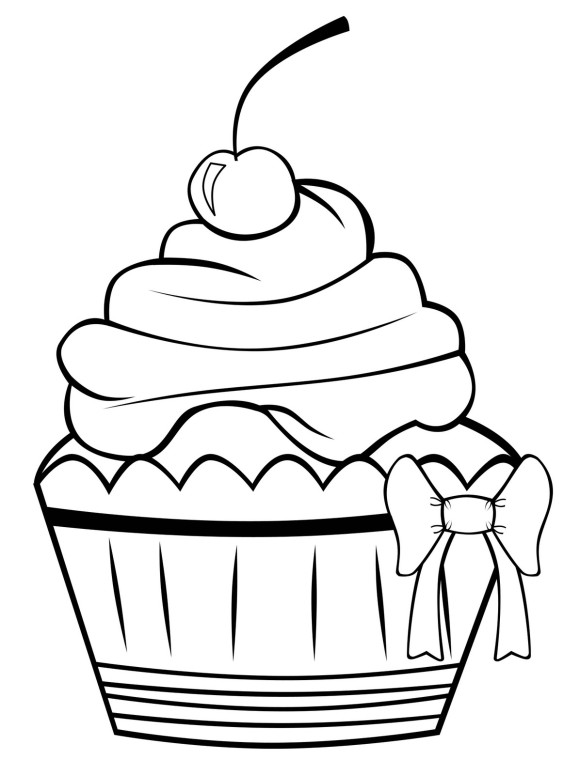Cute Happy Birthday Cupcake Coloring Pages - Birthday Coloring ...
