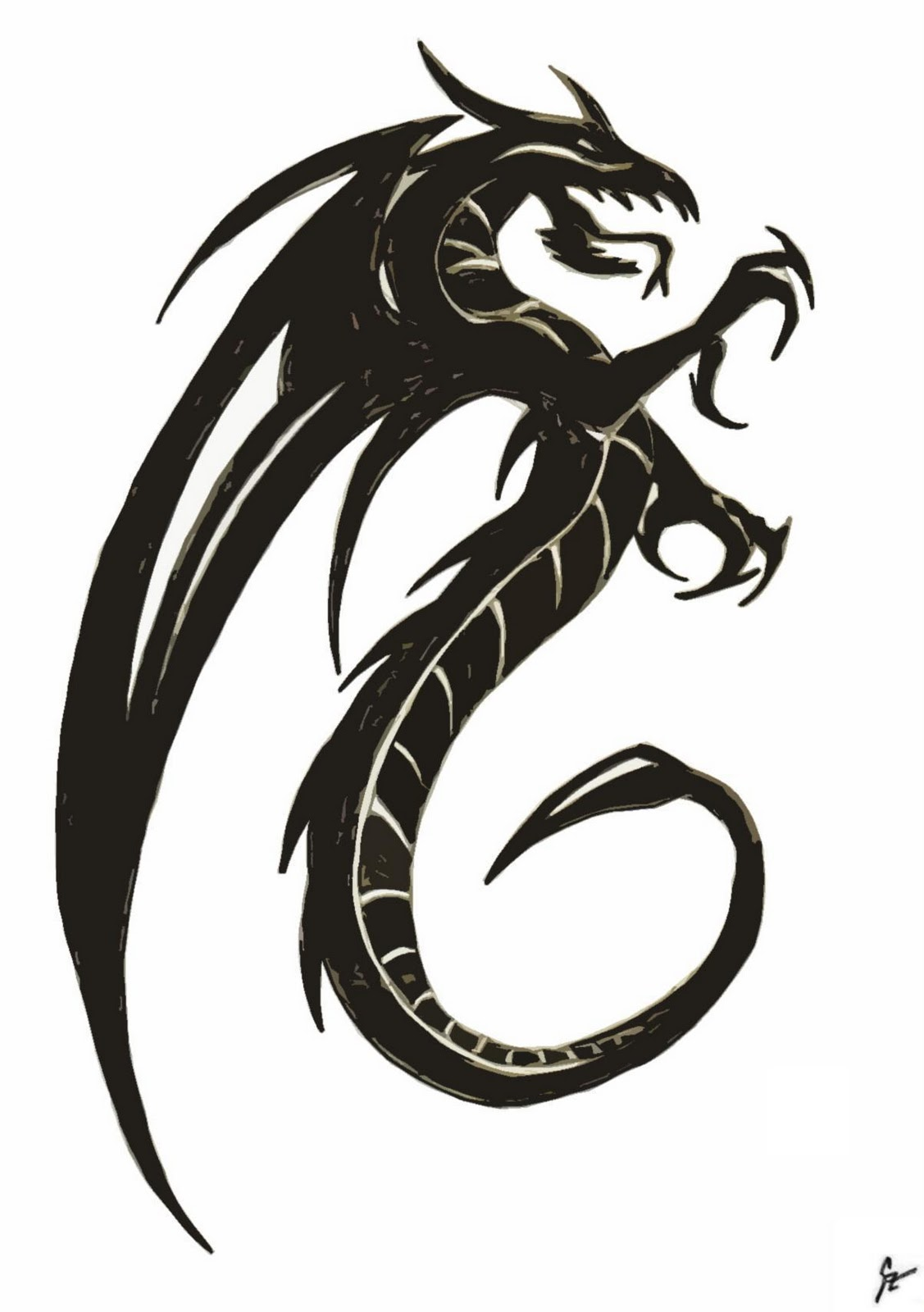 Dragon drawings black and white cliparts co