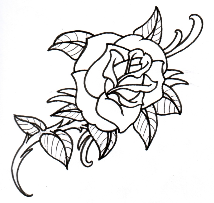 Traditional Flower Line Drawing : Simple flower outline cliparts