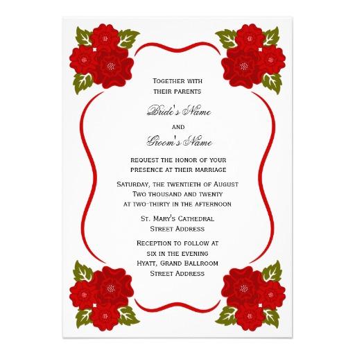 Beautiful Red Floral Border Wedding Invitation Card Design