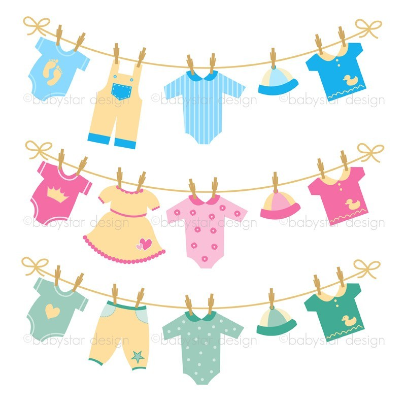 Hang baby clothes on a clothesline for a shower decoration. (Image: Jupiterimages/Brand X Pictures/Getty Images) A baby clothesline is an adorable decoration or gift for an indoor or outdoor baby shower, strewn with a multitude of useful baby items for the new mother.