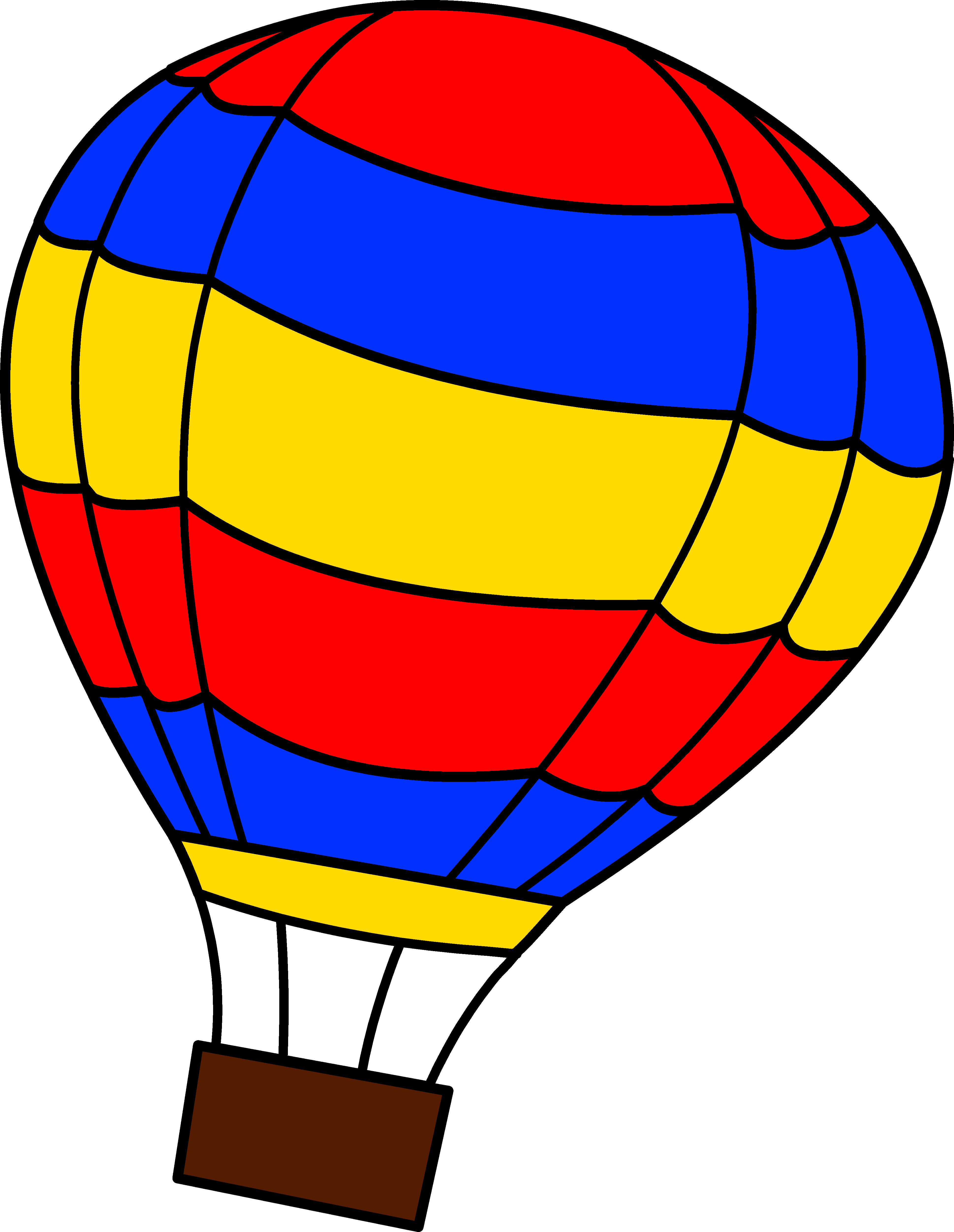 Simple Colorful Hot Air Balloon - Free Clip Art