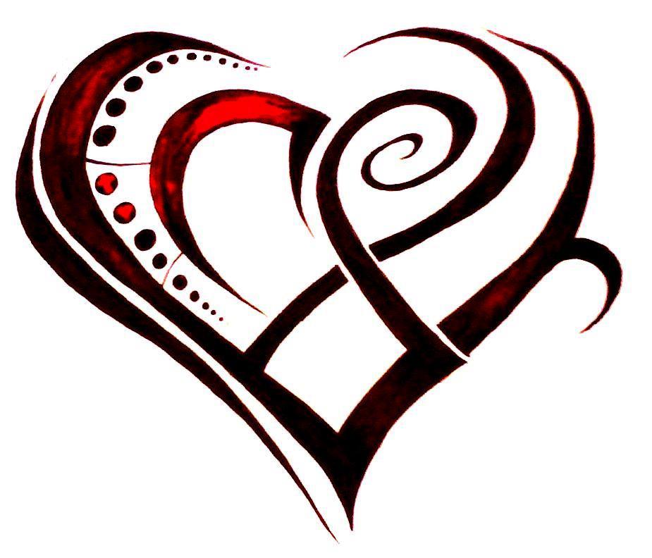 Heart Tattoos Drawings Tribal Heart Drawing