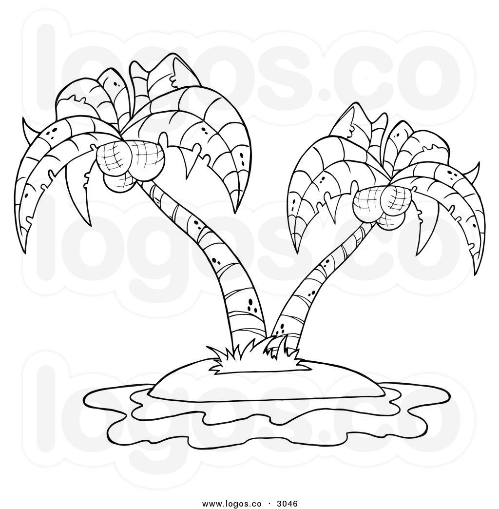 palm tree clipart black and white clipartsco