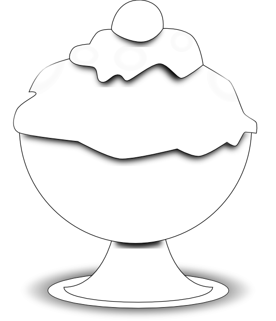 ice cream scoop black and white clipart - photo #18