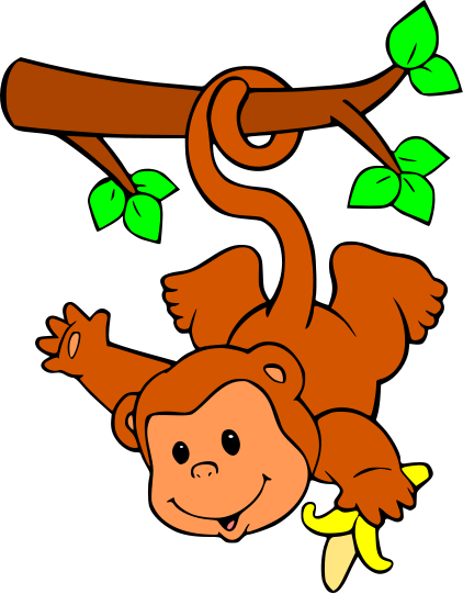 clipart monkey hanging from tree - photo #25