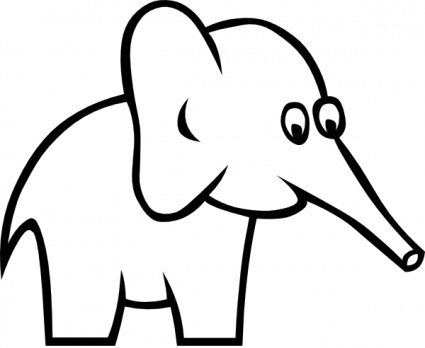 Cartoon Elephant Black And White Clipart - Free Clip Art Images