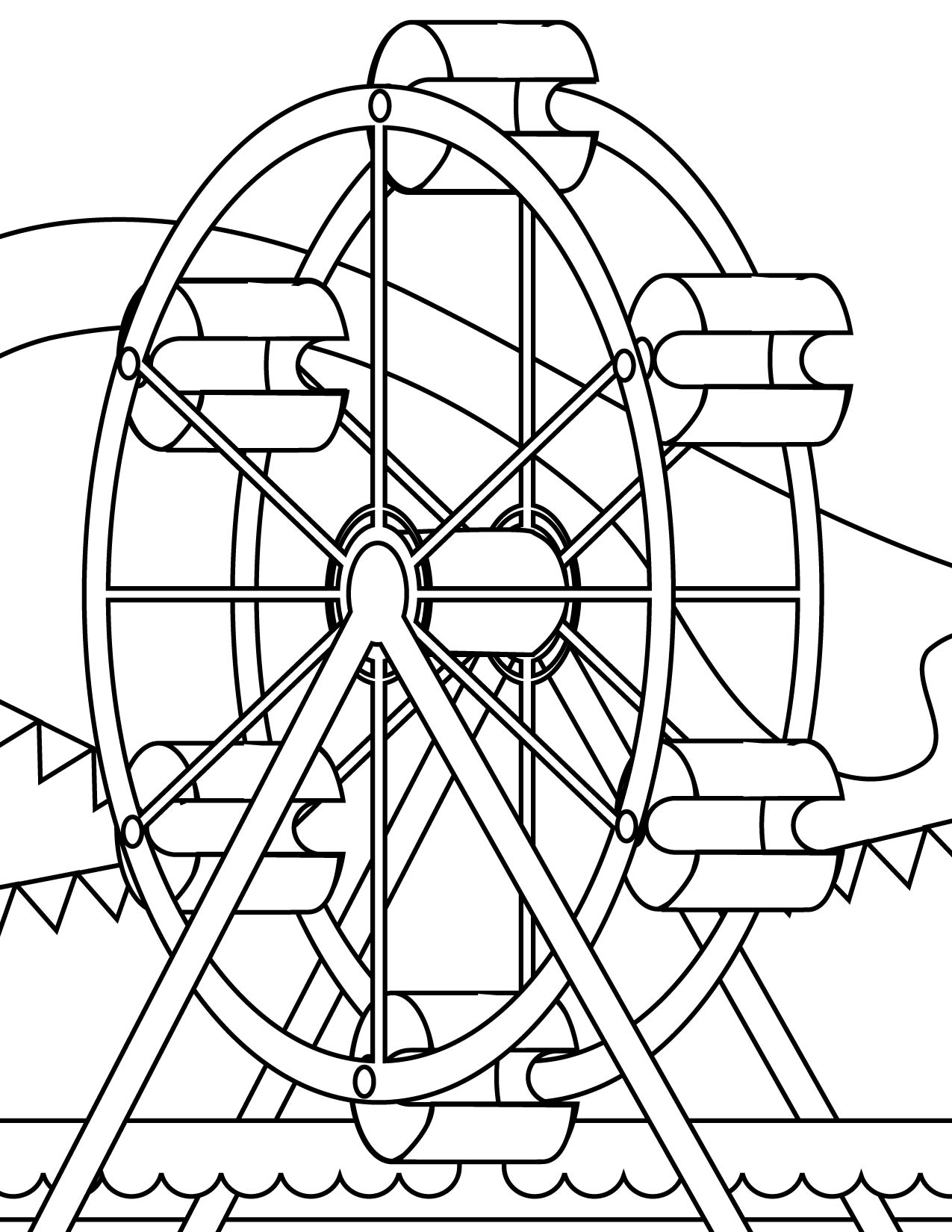 Picture of a ferris wheel for Wheel coloring page
