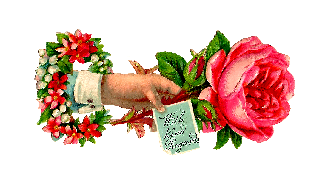 Antique Images: Free Rose Clip Art: Pink Rose Victorian Scrap with ...