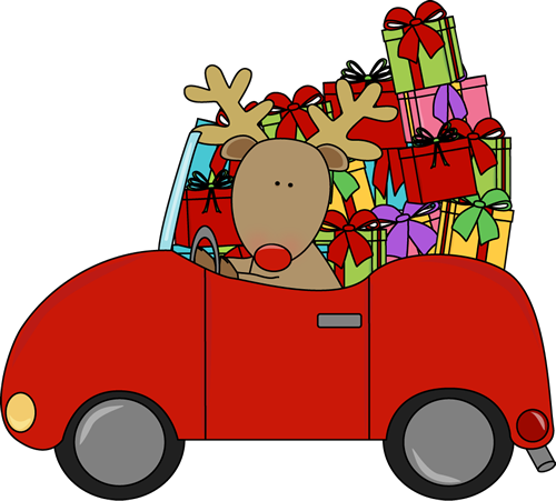 Reindeer Driving a Car Filled with Gifts Clip Art - Reindeer ...