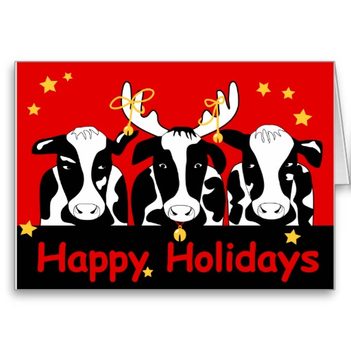 Christmas Cow Cards, Christmas Cow Card Templates, Postage ...