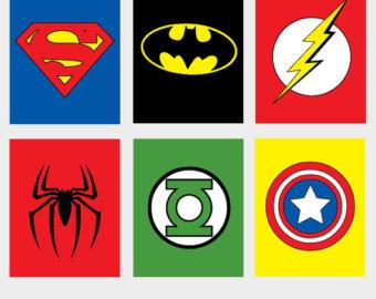 Soft image with printable superhero logos