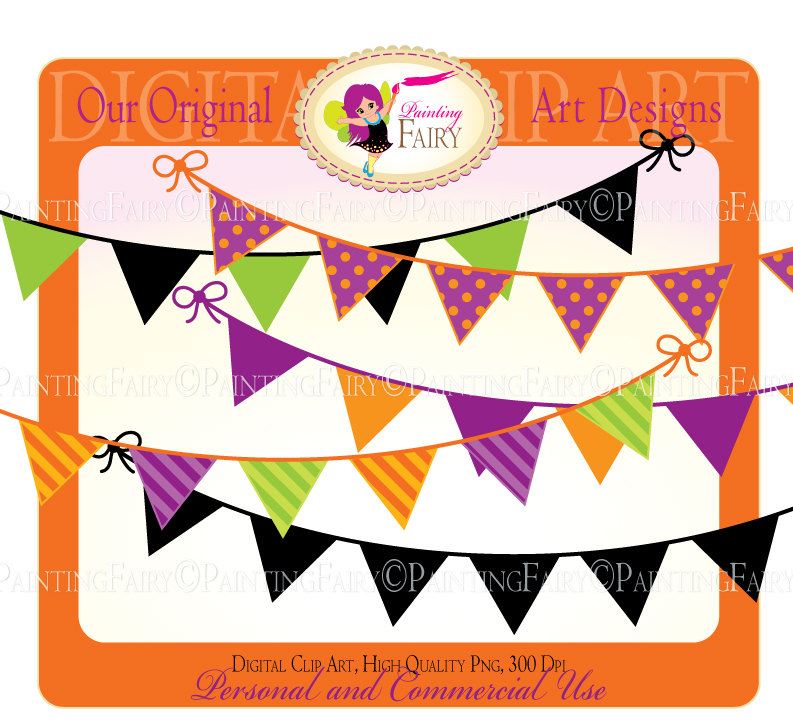 Buy 2 get 1 Free Bunting clipart Halloween by PaintingFairyClipart