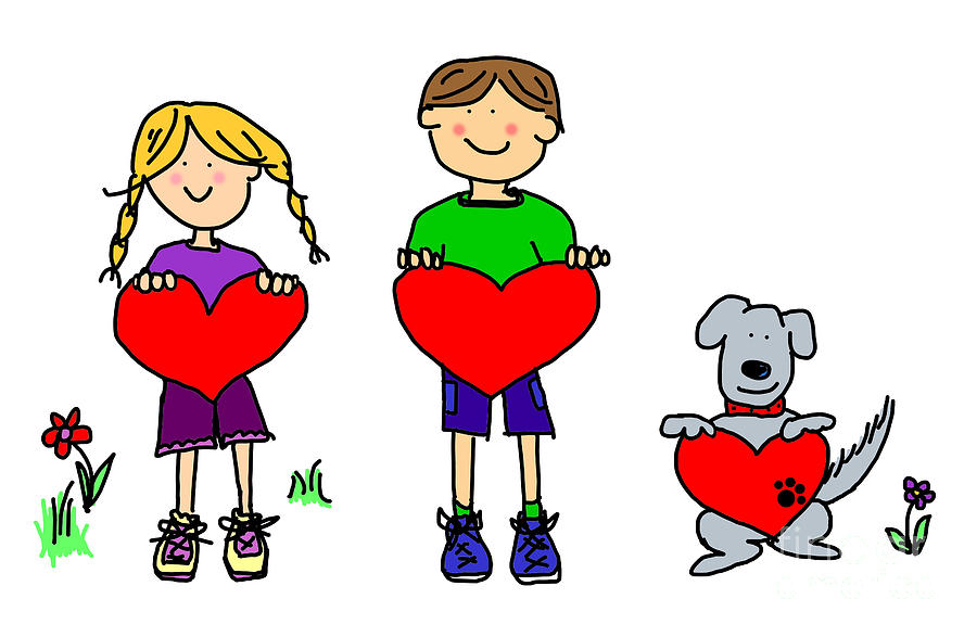 Boy And Girl And Dog Cartoon Holding Heart Shape Sign by Sylvie ...