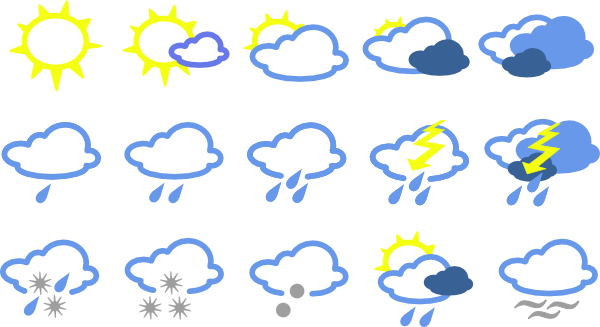 Simple Weather Symbols clip art - vector clip art online, royalty ...