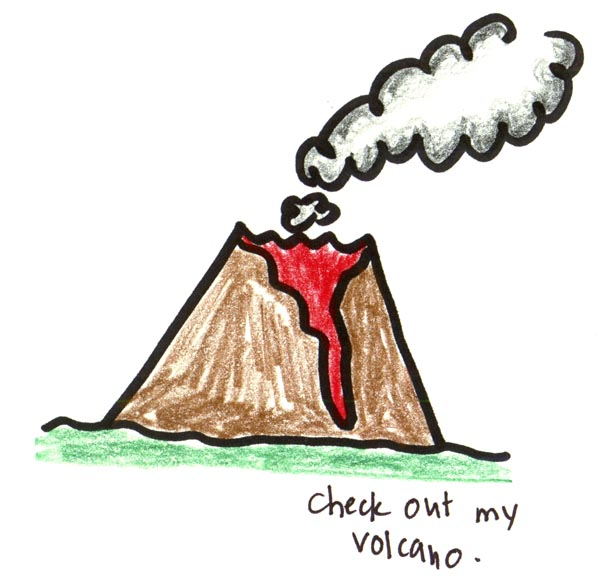 how to draw a volcano step by step easy