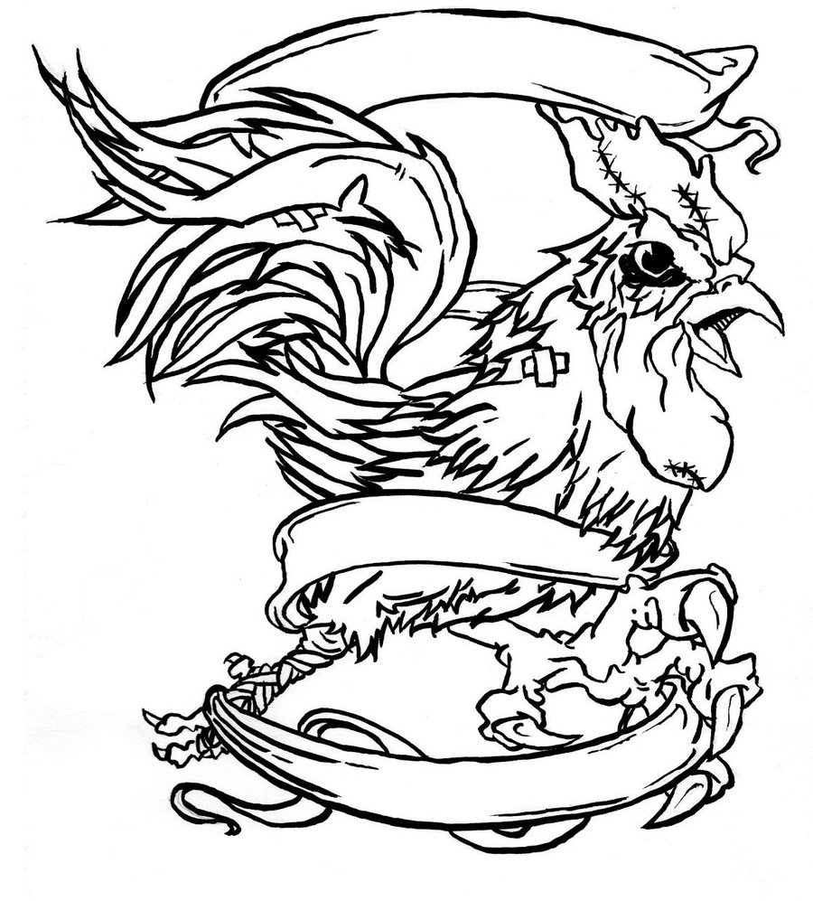 Line Drawing Rooster : Fighting rooster drawings cliparts