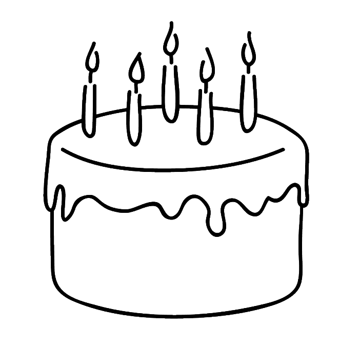 Birthday Cake That Is Simple And Attractive Coloring Page ...