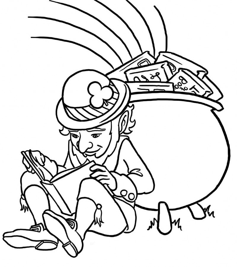 Leprechaun Read A Book Coloring Page For Kids