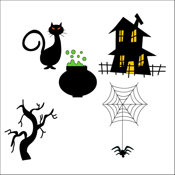 Draw a simple Halloween elements – vector graphics | My Free ...