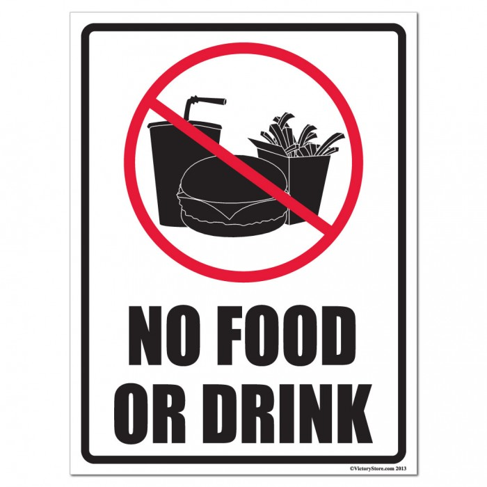 Impertinent image pertaining to no food or drink signs printable