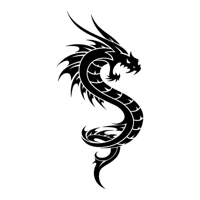 black and white dragon tattoo clipartsco