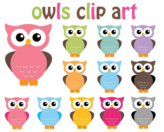 BUY 2 GET 2 FREE - Owl Clip Art Clipart - 12 Digital Elements - Perso…