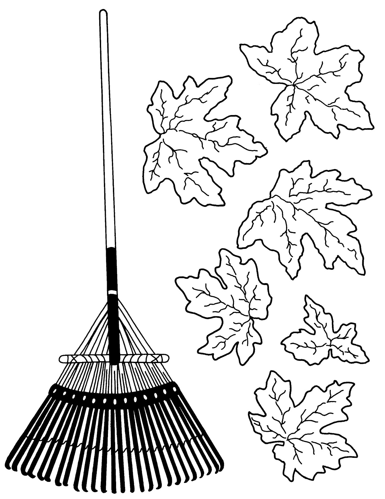Co coloring page for leaves - Rake Coloring Printable Pages 1234x1600