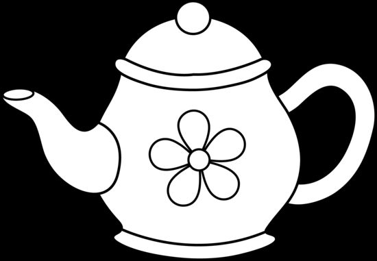 tea cup clipart black and white-#44