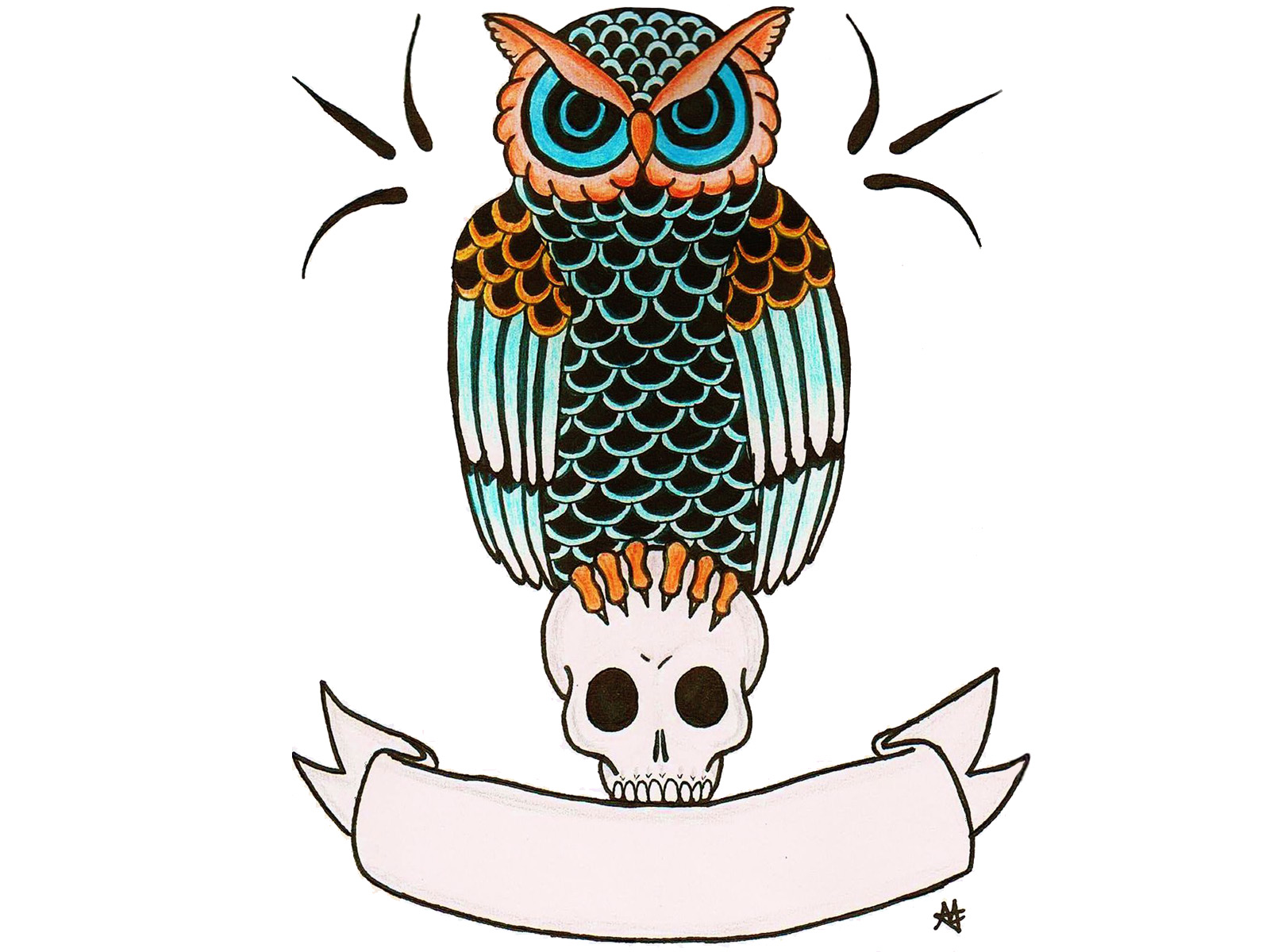 Evil Owl Tattoo Cliparts Co Really Owl Drawings With Color