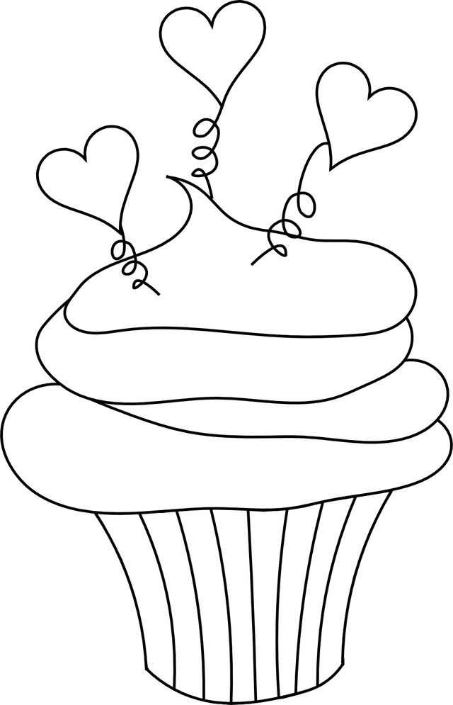 Here's a Free Cupcake With Hearts Digital Stamp to Downnload