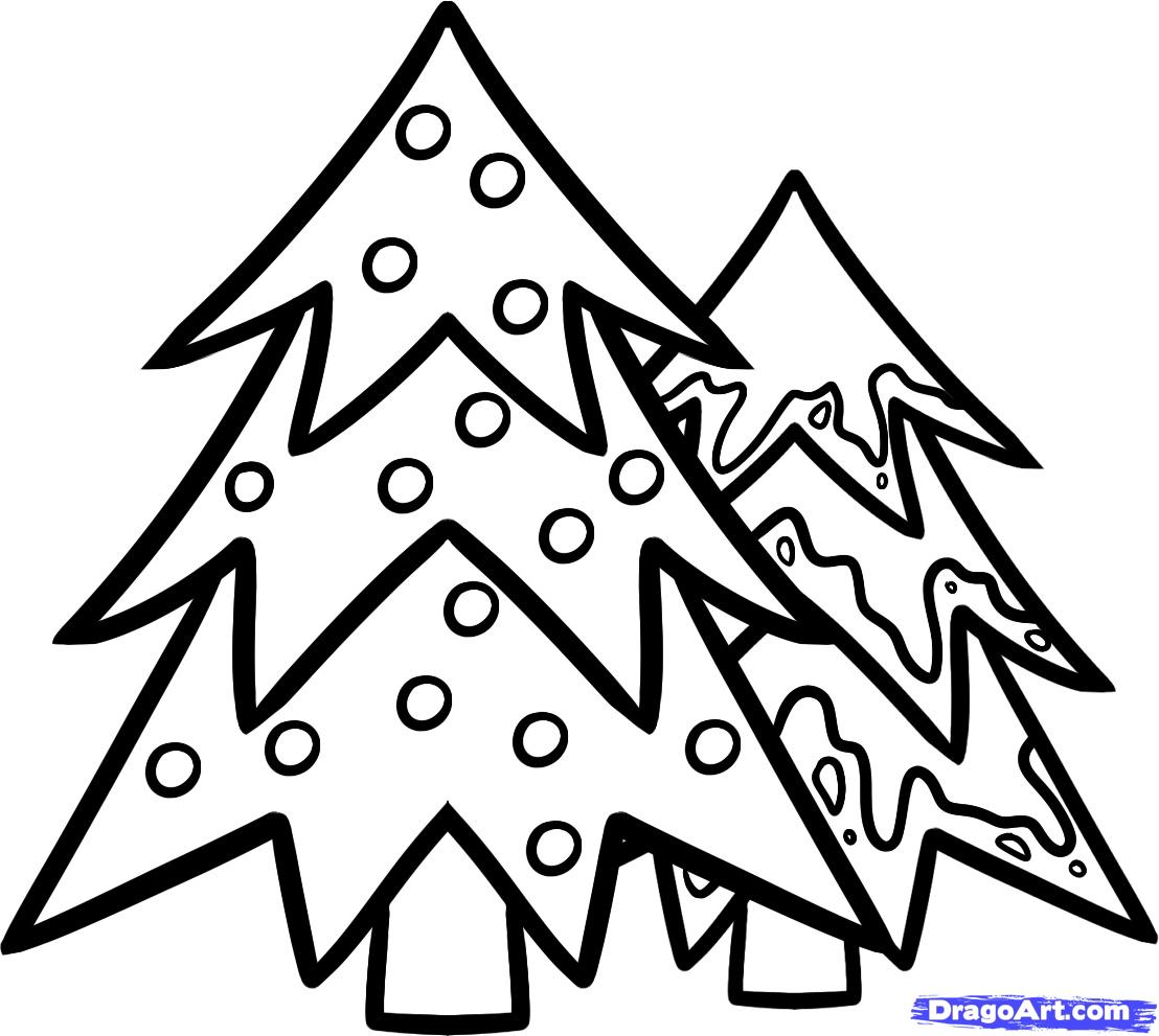 easy christmas trees to draw